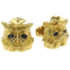 Van Cleef & Arpels Yellow Gold Owl with Sapphire Eyes Cufflinks