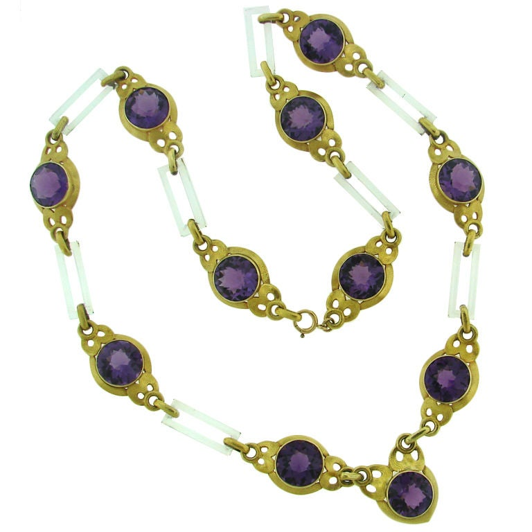 Cartier Amethyst Horn Yellow Gold Necklace For Sale