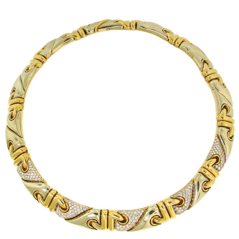 bulgari and two tone gold necklace at 1stdibs