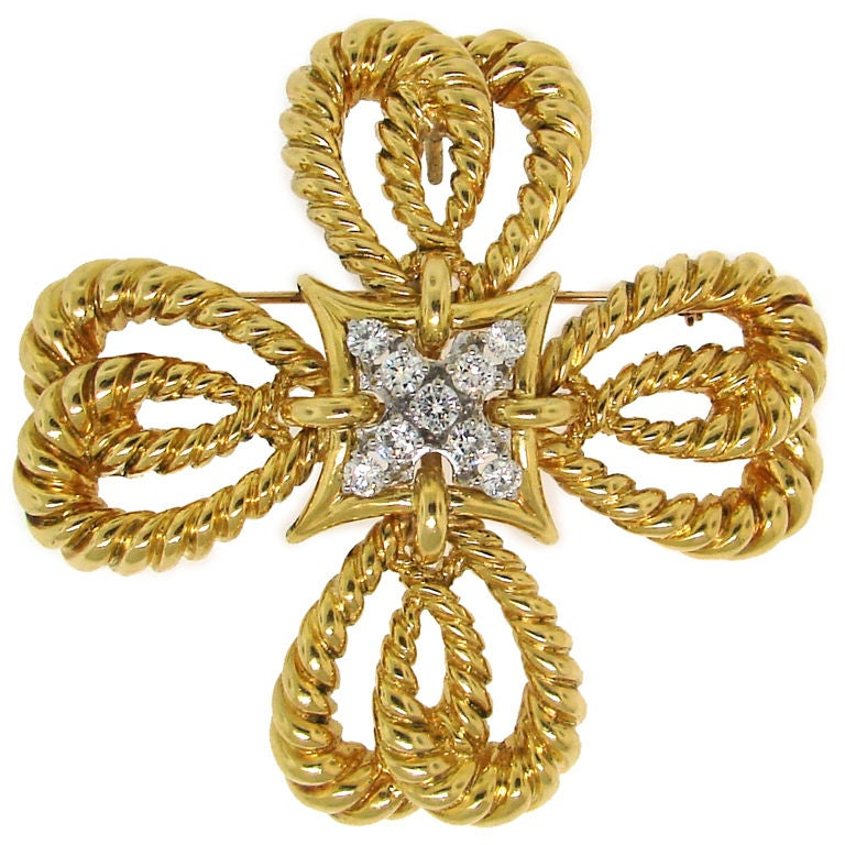 Vintage Tiffany & Co. Diamond & Gold Maltese Cross Pendant /Pin