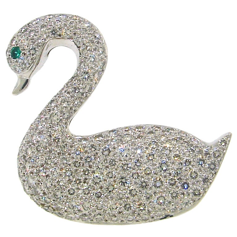 Gracious Tiffany And Co Diamond And Gold Swan Brooch At