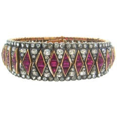 Antique Diamond Ruby Silver Rose Gold Bracelet, 1890s