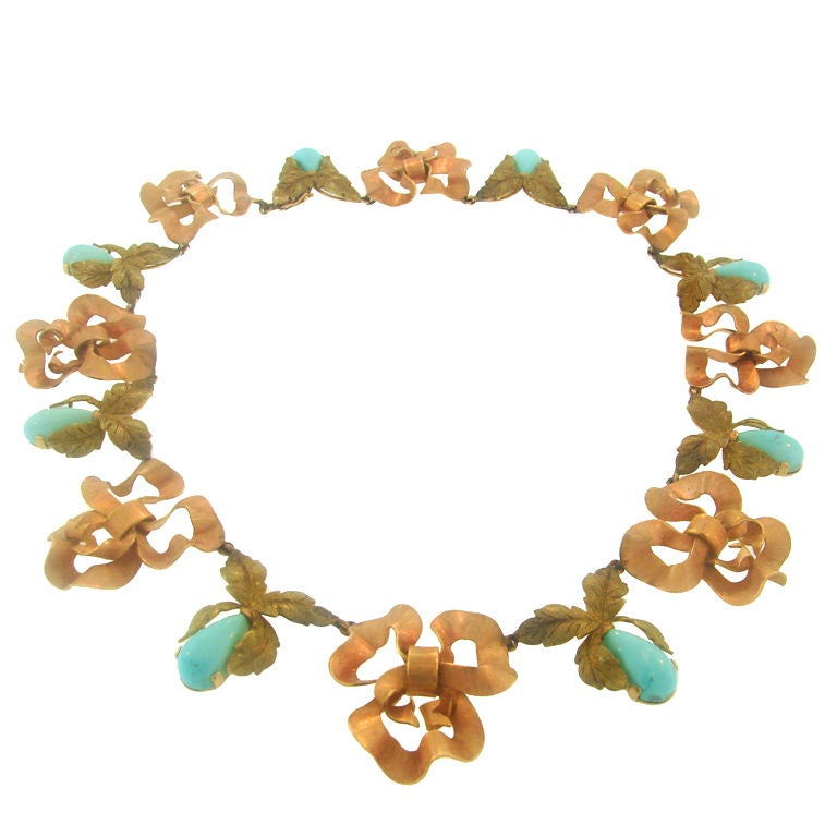 Buccellati Persian Turquoise, Rose & Yellow Gold Necklace