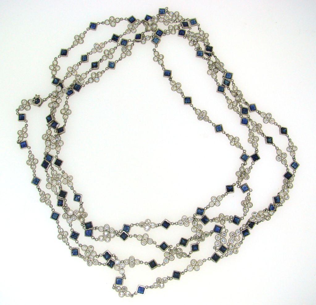 deco sapphire and platinum chain