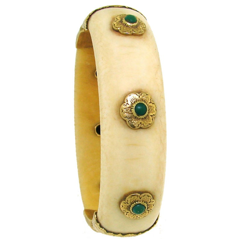 BUCCELLATI Ivory, Turquoise & Yellow Gold Bangle