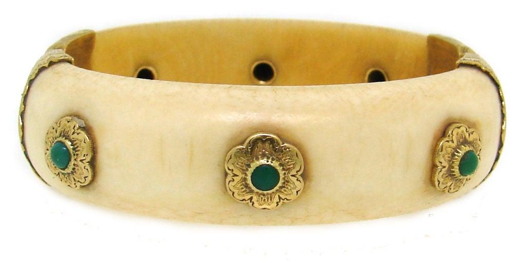 Women's BUCCELLATI Ivory, Turquoise & Yellow Gold Bangle