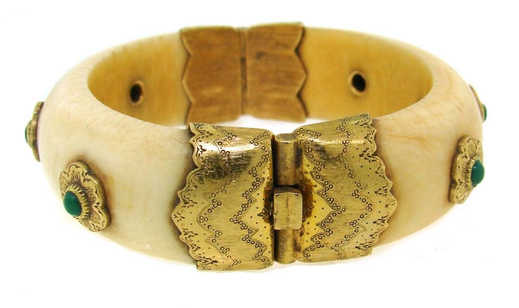 BUCCELLATI Ivory, Turquoise & Yellow Gold Bangle 1