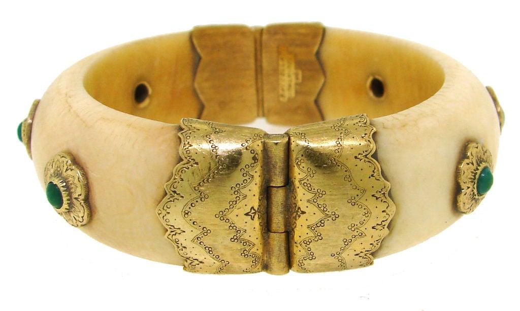 BUCCELLATI Ivory, Turquoise & Yellow Gold Bangle 2