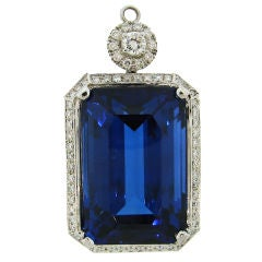 61.41 Carat Tanzanite Diamond White Gold Pendant