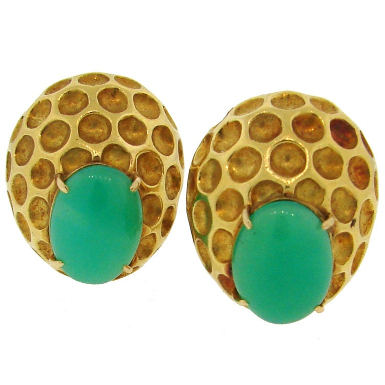 Bold Chrysophrase & Yellow Gold Clip-on Earrings by WANDER For Sale