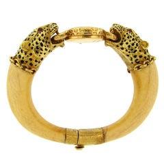 Enamel, Ivory & Yellow Gold Watch / Bangle by BUECHE GIROD
