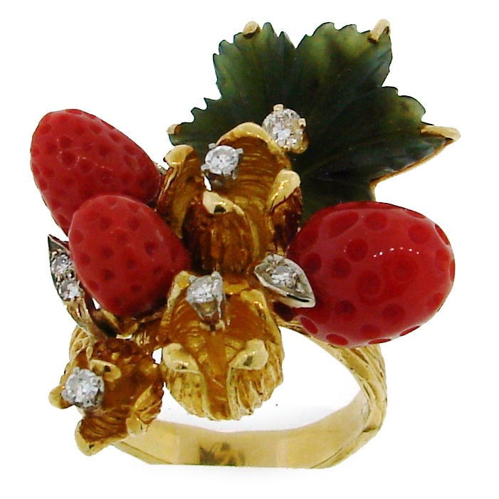 HENRY DUNAY Coral, Jade & Yellow Gold Wild Strawberry Ring image 2