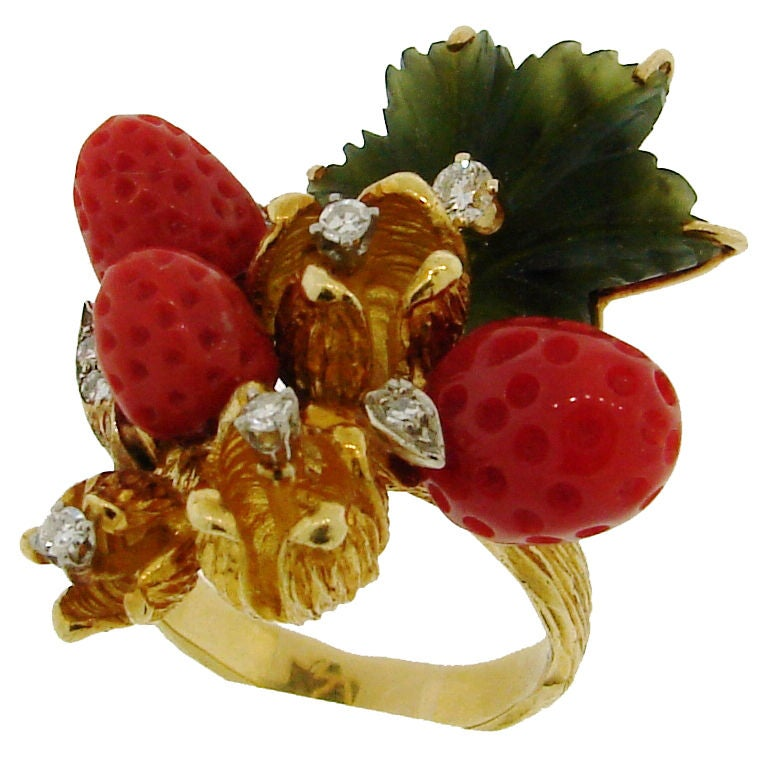 HENRY DUNAY Coral, Jade & Yellow Gold Wild Strawberry Ring image 3