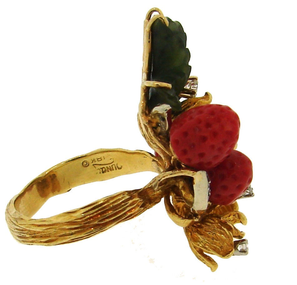 HENRY DUNAY Coral, Jade & Yellow Gold Wild Strawberry Ring image 4