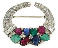 Art Deco CARTIER Tutti Frutti Diamond, Gems & White Gold Brooch