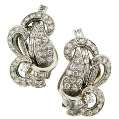 Diamond & Platinum Stylized Art Deco Clip-on Earrings