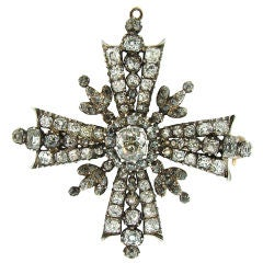Victorian Diamond, Silver & Gold Maltese Cross Pendant / Brooch
