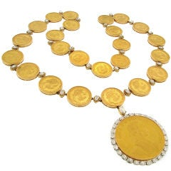 Oscar Heyman Gold Antique Austrian Coins & Diamond Necklace