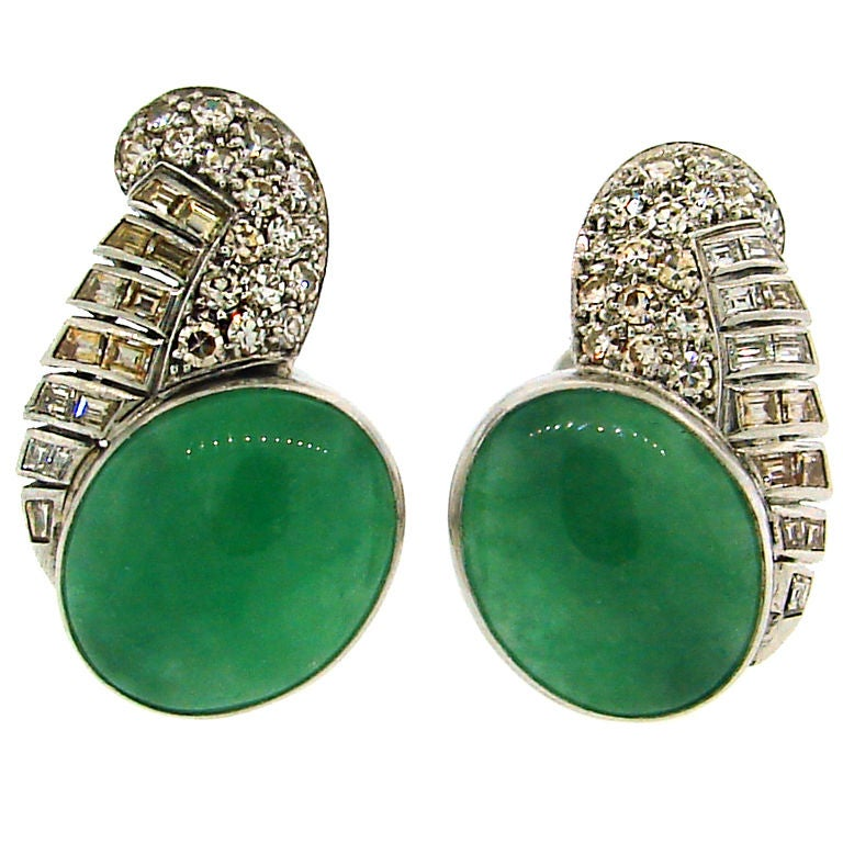 Art Deco Jade, Diamond and Platinum Clip-On Earrings