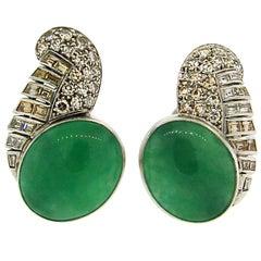Art Deco Jade, Diamond and Platinum Earrings