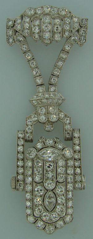 Art Deco Diamond & Platinum Lapel Watch with Glycine Movement 2