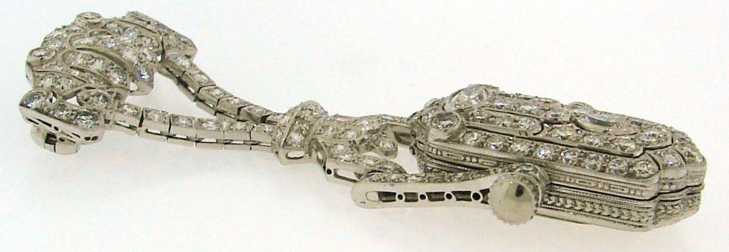 Women's Art Deco Diamond & Platinum Lapel Watch with Glycine Movement For Sale