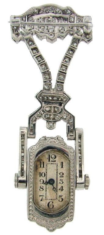 Art Deco Diamond & Platinum Lapel Watch with Glycine Movement For Sale 2