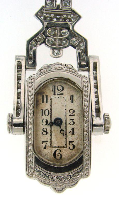 Art Deco Diamond & Platinum Lapel Watch with Glycine Movement For Sale 3