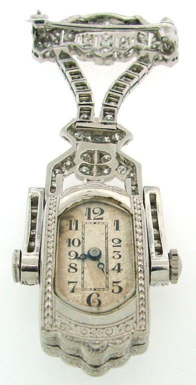 Art Deco Diamond & Platinum Lapel Watch with Glycine Movement For Sale 4