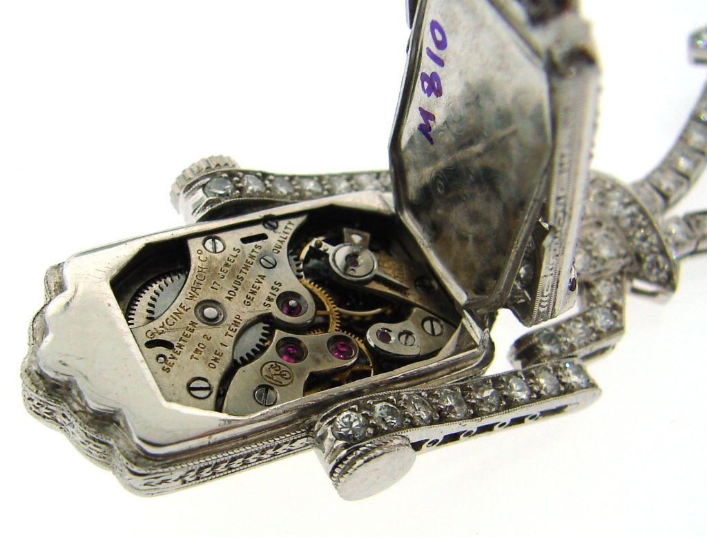 Art Deco Diamond & Platinum Lapel Watch with Glycine Movement For Sale 5