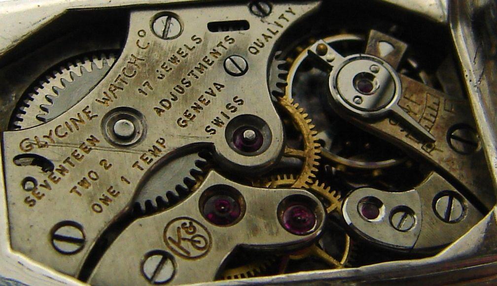 Art Deco Diamond & Platinum Lapel Watch with Glycine Movement For Sale 6