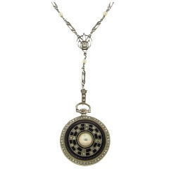 Edwardian Rose Cut Diamond, Pearl, Enamel & Plat Watch / Pendant