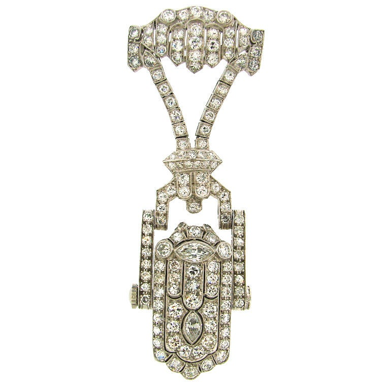 Art Deco Diamond & Platinum Lapel Watch with Glycine Movement For Sale