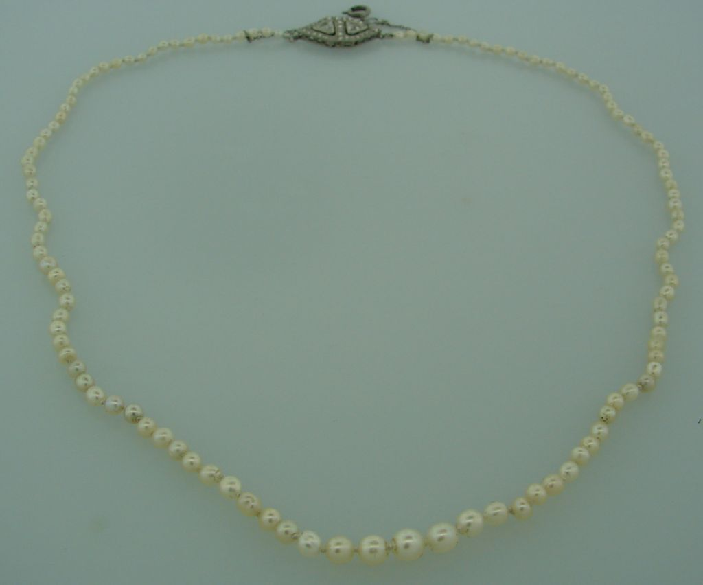 lacloche deco pearl necklace w and plat clasp at 1stdibs