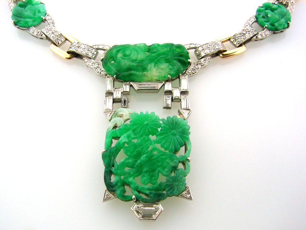 Art Deco Caldwell Jade Diamond Platinum Gold Necklace