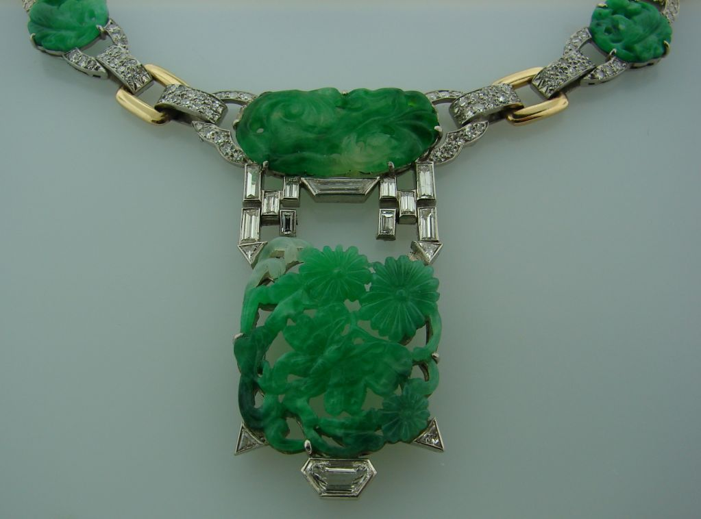 Caldwell Jade Diamond Platinum Gold Necklace In Excellent Condition In Beverly Hills, CA