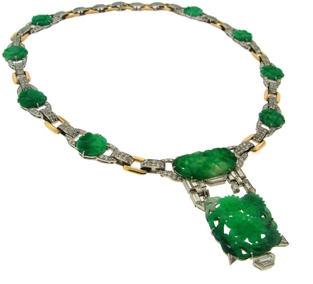 Women's Caldwell Jade Diamond Platinum Gold Necklace