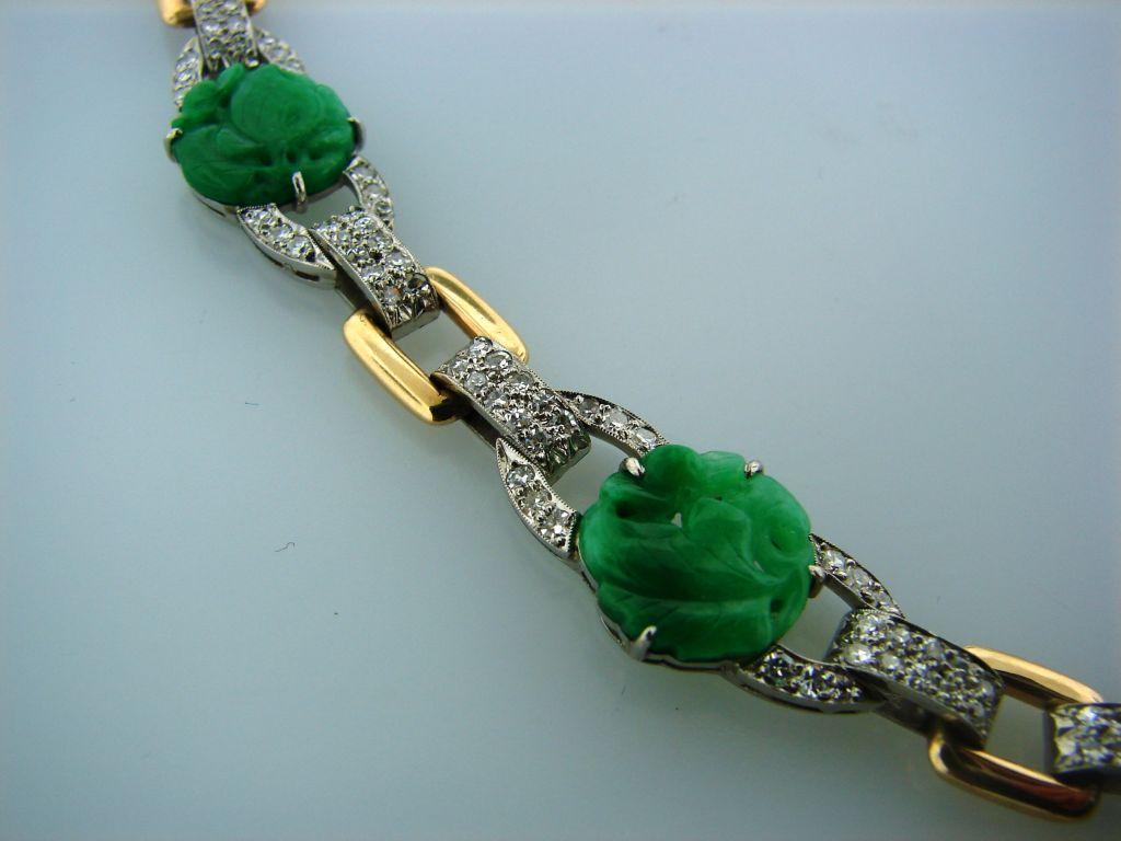 Caldwell Jade Diamond Platinum Gold Necklace 1