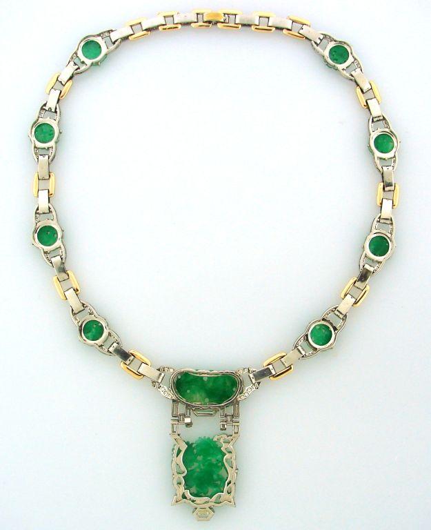 Caldwell Jade Diamond Platinum Gold Necklace 2