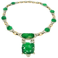 J.E.CALDWELL & Co. Carved Jade Diamond Platinum Gold Necklace