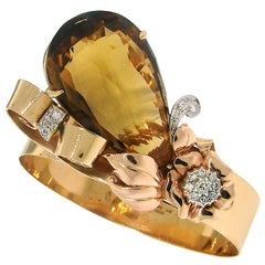 Vintage Birks 14k Yellow Gold Retro Bracelet Citrine Diamond Estate Jewelry