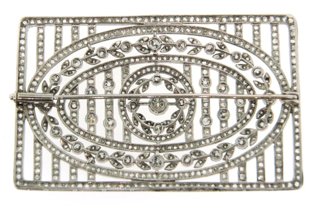 Edwardian Diamond & Platinum Brooch Pin 1920's In Excellent Condition For Sale In Beverly Hills, CA