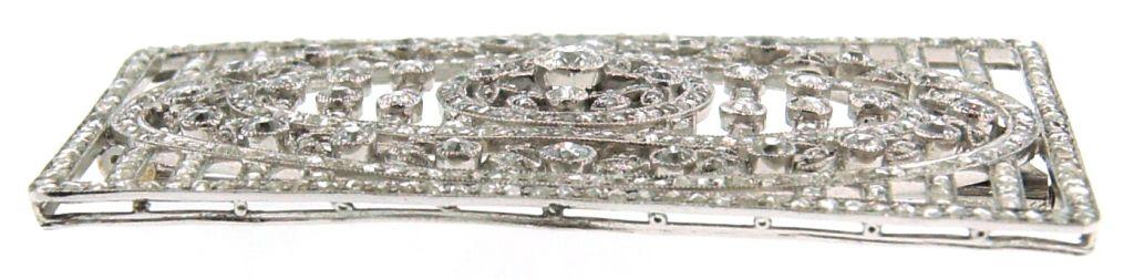Women's Edwardian Diamond & Platinum Brooch Pin 1920's For Sale