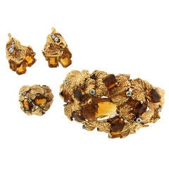 RUSER Citrine, Diamond & Gold Set of Ring, Bracelet & Earrings