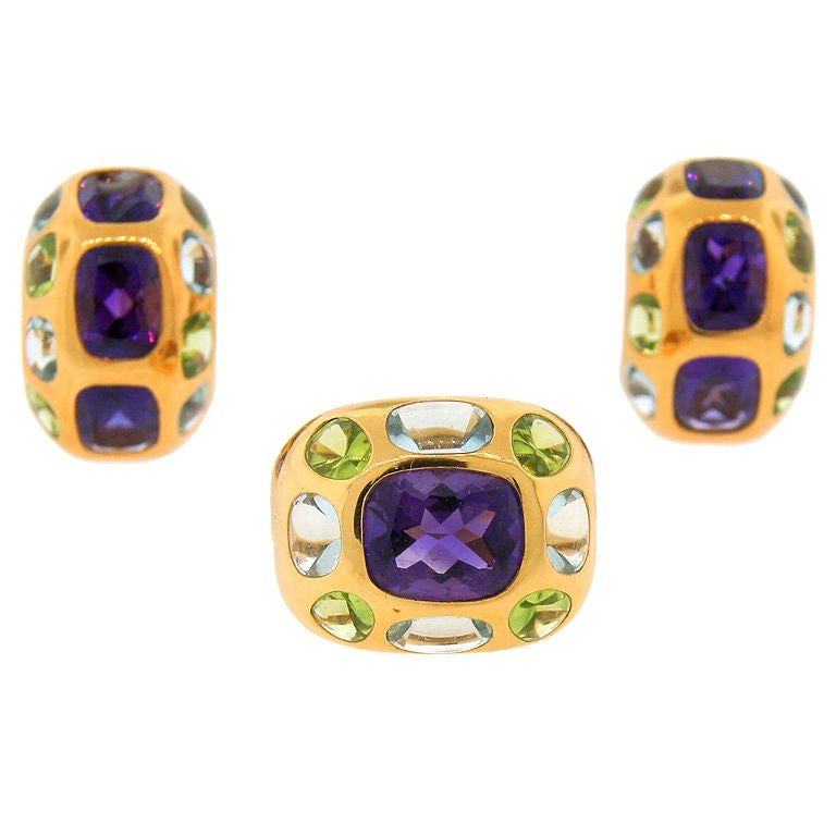 CHANEL Gemstones & Yellow Gold Ring & Earrings