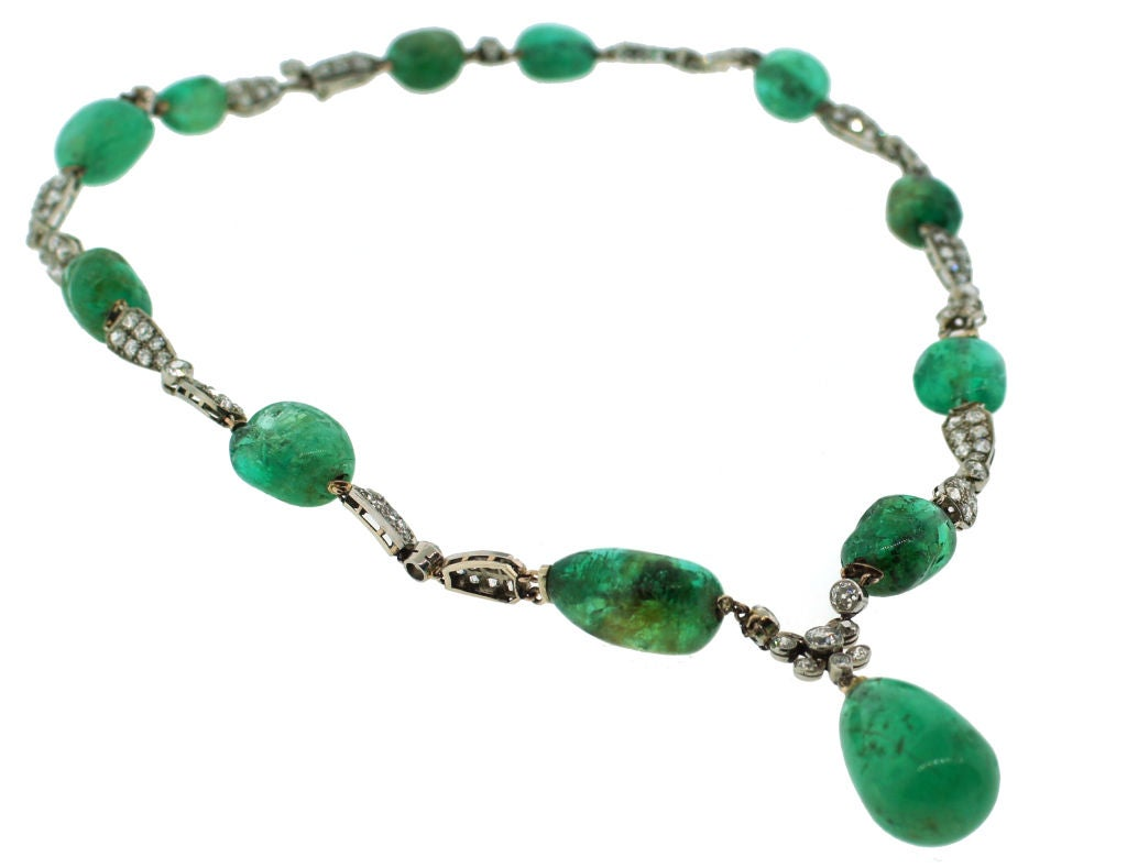 Women's Circa 1930's Emerald, Diamond & White Gold Necklace For Sale