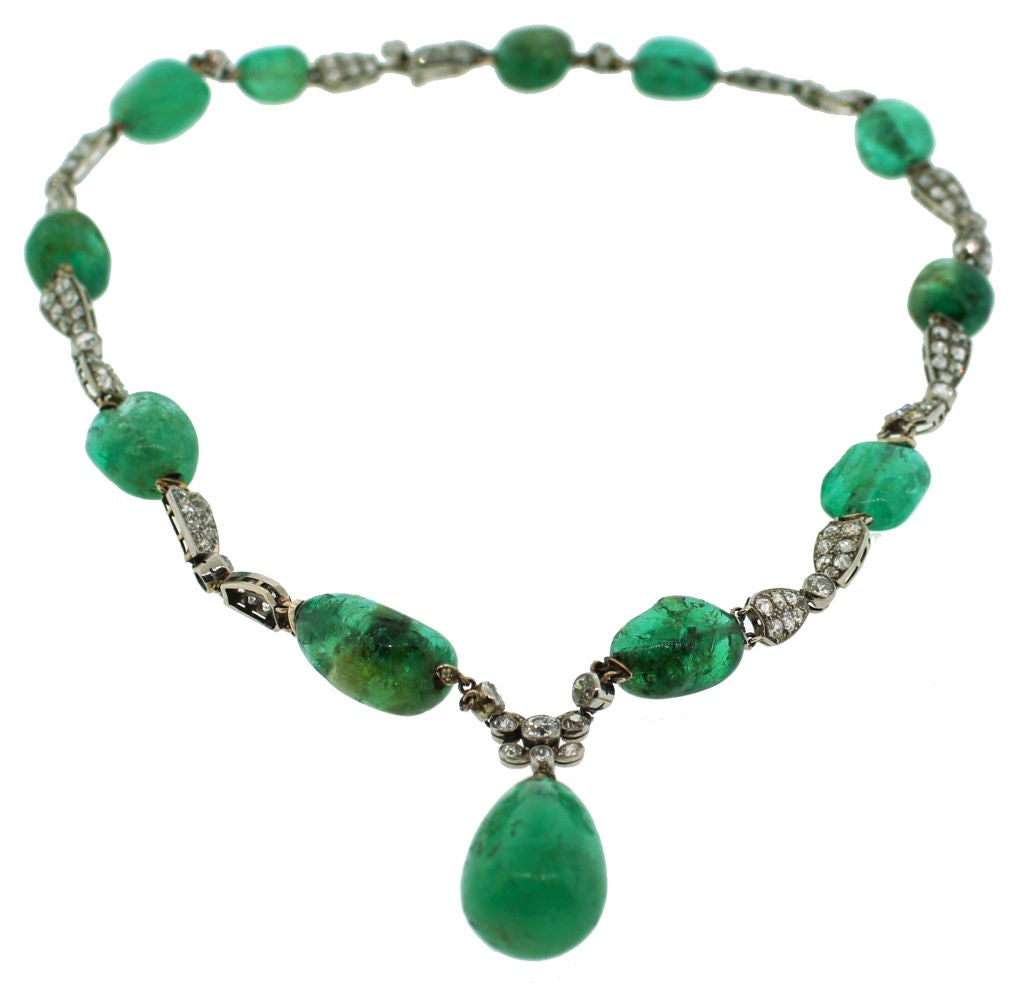 Circa 1930's Emerald, Diamond & White Gold Necklace For Sale 1