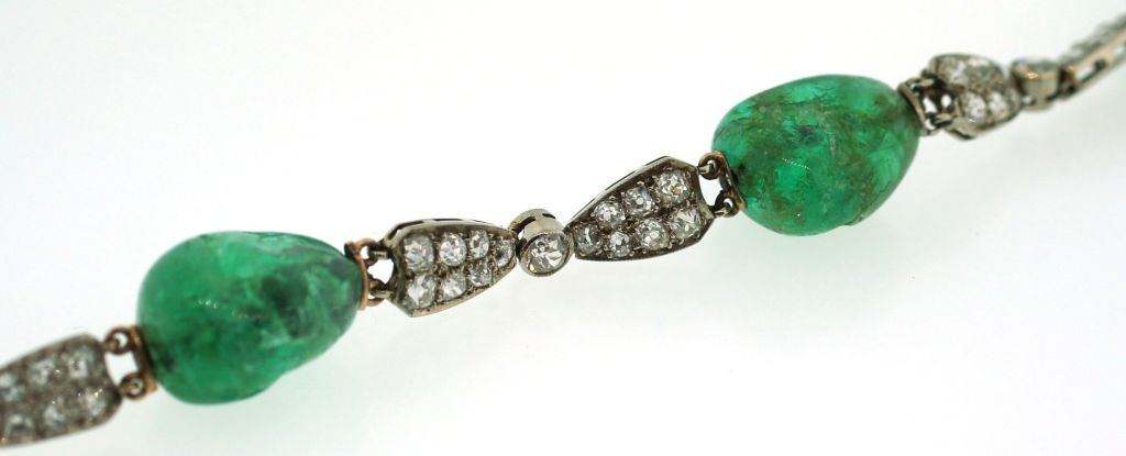Circa 1930's Emerald, Diamond & White Gold Necklace For Sale 2