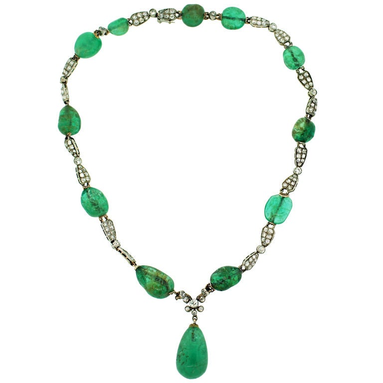 Circa 1930's Emerald, Diamond & White Gold Necklace For Sale