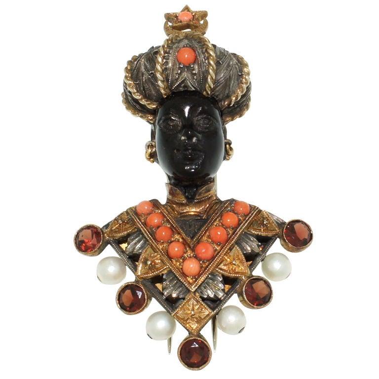 G NARDI Ebony Pearl Coral Garnet And Gold Blackamoor